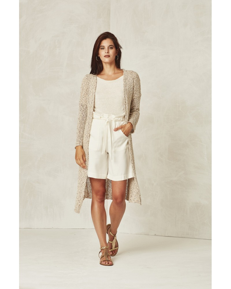 LINEN PULLOVER WITH BOAT COLLAR