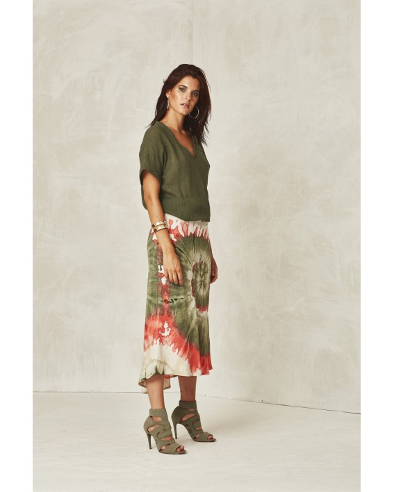 FALDA MIDI TIE AND DYE. OUTLET MUJER
